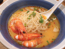 Thai spicy soup with shrimp and herb , thai food Royalty Free Stock Photo