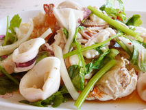 Thai spicy and sour seafood salad Stock Image