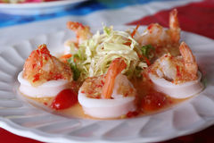 Thai spicy and sour shrimp and squid salad Stock Images
