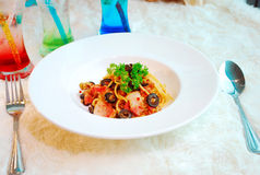 Thai Spicy Spaghetti With Pork Stock Images