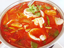 Thai spicy Tom Yam Seafood with coconutmilk soup Royalty Free Stock Images