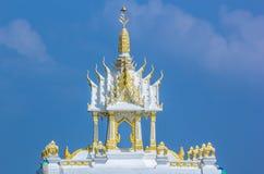 Thai spirit house. A white shrine of Thai household god Royalty Free Stock Photo