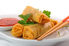 Thai Spring Rolls. Delicious thai spring rolls with spicy pepper sauce stock photo