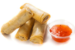 Thai Spring Rolls. Delicious thai spring rolls with spicy pepper sauce Stock Images