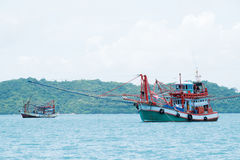 Thai squid fising boat. This tpye of ship contain a lot of light to cod a squid Royalty Free Stock Photos