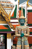Thai Statue. And architectural detail at the Temple of the Emerald Buddha, Bangkok, Thailand Royalty Free Stock Images