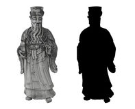 Thai statue of an old noble man. With a long beard and a scroll in his hand in traditional thai clothes; and his silhouette Stock Photo