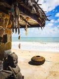 Thai statue on a tropical beach. Thai traditional statue overlooking the ocean Stock Photos