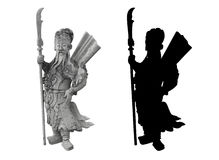 Thai statue of a warrior. With a long beard and a spear in his hand in traditional thai clothes; and his silhouette Royalty Free Stock Photography
