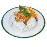 Thai steamed fish curry custard in Tin foil (Hormok) isolated on Royalty Free Stock Photo