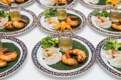 Thai steamed rice-skin dumplings with fried shrimp. Stock Image