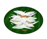 Thai Sticky Rice Cake on Green Banana Leaf Royalty Free Stock Photography