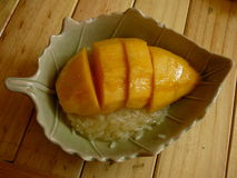 Thai Sticky Rice. Nothing like it, it's the BEST taste ever.  Ripe Mango with a sweet rice and coconut milk. This is how it was served in my cooking class in Royalty Free Stock Image