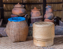 Thai sticky rice round box of handmade bamboo weaving Royalty Free Stock Images