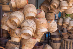Thai sticky rice round box of handmade bamboo weaving Stock Image