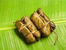 Thai Sticky Rice Wrapped in Banana Leaf, Thai local dessert Stock Photos