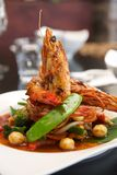 Thai stir fried with king prawn. Royalty Free Stock Photo