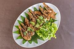 Thai Stir Fried Mantis Shrimp Stock Photo