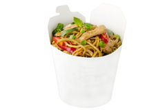 Thai stir-fried noodle with redcurry and chicken stock images