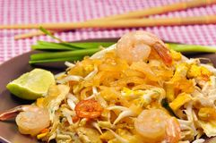 Thai stir fried noodles Royalty Free Stock Images