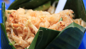 Thai stir-fried noodles in a banana leaf bowls Royalty Free Stock Photos