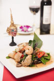 Thai stir fried seafood with Thai herb. Stock Image