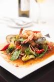 Thai Stir Fried Seafood With Tom Yum Sauce. Royalty Free Stock Photos