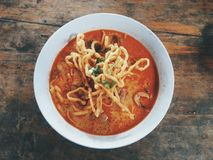 Thai stlye chicken curry noodle Royalty Free Stock Photo