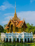 Thai stlye pavilion. Nice pavilion in the pond at blue sky Stock Photos