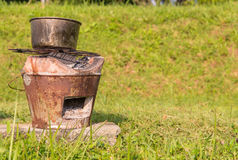 Thai stove Brazier With Steaming Pot for cooking on firewood Royalty Free Stock Photo