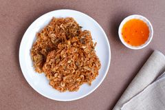 Thai street food ,Crispy shrimp,Fried Krill. Top view Royalty Free Stock Images