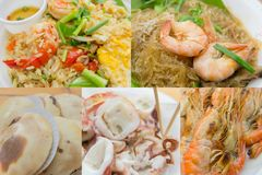 Thai street food. Fried rice, shrimp potted with vermicelli, scallop squid and shrimp grilled Royalty Free Stock Photography