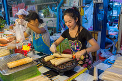 Thai street food, Grilled Vietnamese Pork Sausage. Bangkok, Thailand - May 25, 2016 : Thai exotic food in street food market with grilled Vietnamese Pork Sausage Stock Images