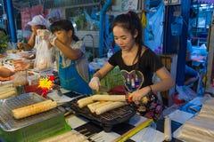 Thai street food, Grilled Vietnamese Pork Sausage. Bangkok, Thailand - May 25, 2016 : Thai exotic food in street food market with grilled Vietnamese Pork Sausage Stock Photo