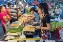 Thai street food, Grilled Vietnamese Pork Sausage. Bangkok, Thailand - May 25, 2016 : Thai exotic food in street food market with grilled Vietnamese Pork Sausage Stock Photography