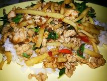Thai street food krapraow kai nor mai Stock Photos