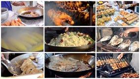 Thai street food montage stock footage