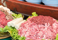 Thai street food. Raw pork at street food in thailand Royalty Free Stock Photos