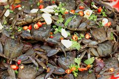 Thai street food, Salted crab is a pickled crab use in papaya salad stock photo