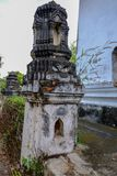 Thai Stucco pattern on the ancient pagoda or Prang Side view stock photos
