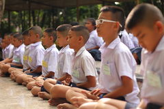 Thai student Meaning meditation. Meaning that students concentrate Thailand Stock Photos