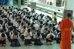 Thai student Meaning meditation. Meaning that students concentrate Thailand Stock Photo