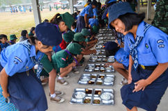 Thai student scout camp Royalty Free Stock Photos