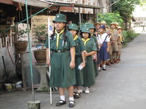 Thai student scouts camp Stock Image