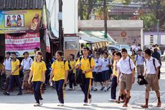 Thai student in street Royalty Free Stock Photography