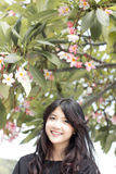 Thai student teen beautiful girl Black Dresses relax and smile. Stock Photo