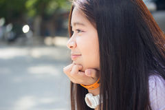 Thai student teen beautiful girl happy and relax in school Royalty Free Stock Photography