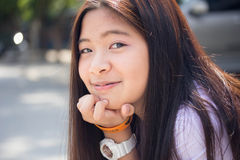 Thai student teen beautiful girl happy and relax in school Stock Photos