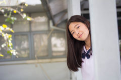 Thai student teen beautiful girl happy and relax in school Stock Image