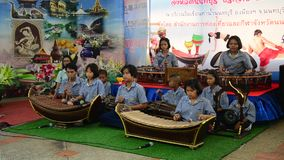 Thai students band playing traditional thai musical instruments concert stock video